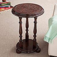 Mohena wood and leather accent table, 'Round Flowers' - Mohena Wood and Embossed Leather Round Table