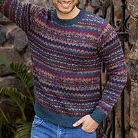 Men's 100% alpaca sweater, 'Colca Blue' - Patterned Blue and Burgundy Alpaca Men's Knit Sweater