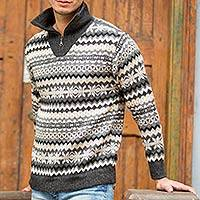 Men's 100% alpaca sweater, 'Huascaran Explorer' - Grey and Ivory Men's Alpaca Sweater with a Zipper Turtleneck