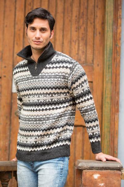 Men's 100% alpaca sweater, 'Huascaran Explorer' - Grey and Ivory Men's Alpaca Sweater with a Zipper Turtleneck