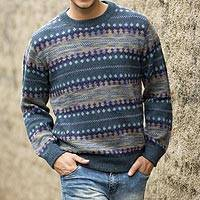 Featured review for Mens 100% alpaca sweater, Cajamarca Blues