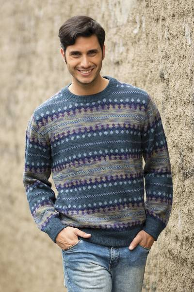 Men's 100% alpaca sweater, 'Cajamarca Blues' - Men's Patterned Andean 100% Alpaca Sweater in Shades of Blue
