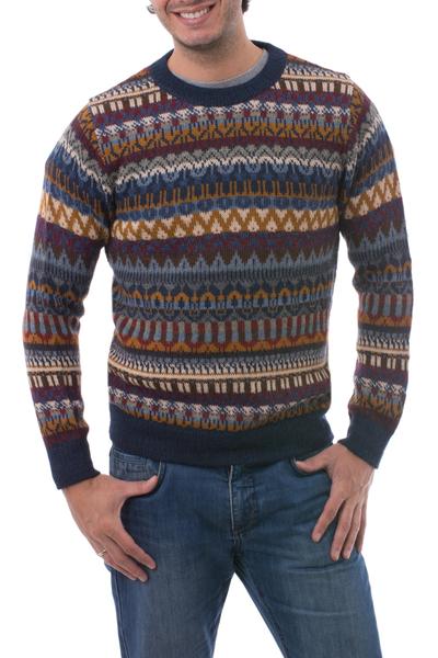 Men's 100% alpaca sweater, 'Colca Melange' - Multicolor Alpaca Men's Sweater with Blue Trim from Peru