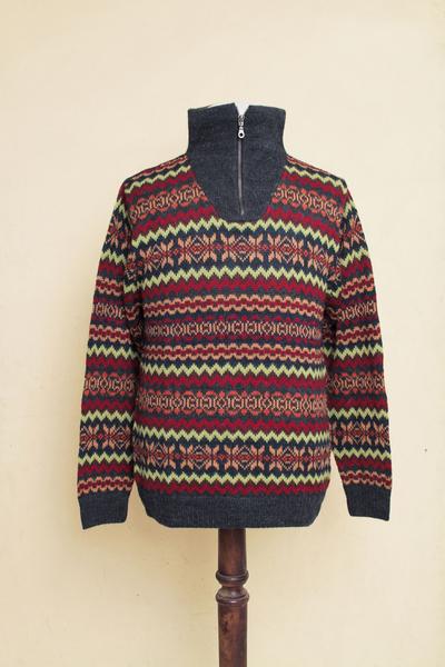 Men's 100% alpaca sweater, 'Earth Tribute' - Multicolor Men's Alpaca Sweater with a Zipper Turtleneck