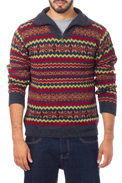 Men's 100% alpaca sweater, 'Earth Tribute' - Multicolor Men's Alpaca Sweater with a Zipper Turtleneck