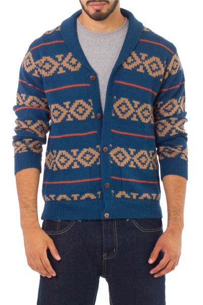 Men's 100% alpaca cardigan, 'Blue Chakana' - Men's Blue and Brown Alpaca Cardigan Sweater from Peru