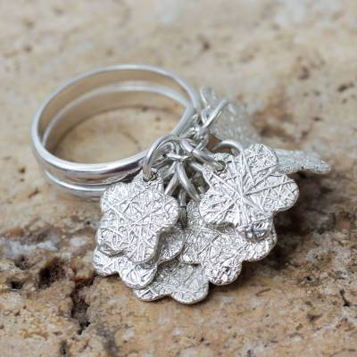 Sterling silver flower ring, 'Tarma Flowers' - Handcrafted Sterling Silver Cocktail Ring from Peru