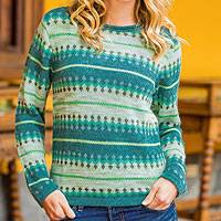 100% alpaca sweater, 'Alpine Mist' - Patterned Green and Grey 100% Alpaca Knit Pullover Sweater
