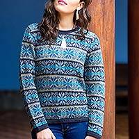 100% alpaca sweater, 'Blue Snowflake' - Patterned Blue 100% Alpaca Knit Pullover Sweater from Peru
