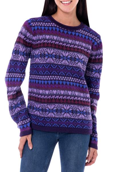 100% alpaca sweater, 'Purple Poppy' - Knit 100% Alpaca Snowflake Pattern Pullover Sweater