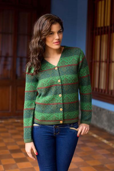 100% alpaca cardigan, 'Andean Evergreen' - Knitted Green Alpaca Cardigan Sweater from Peru