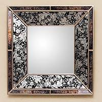 Mirror, 'Majestic' - Original Black and Silver Reverse Painted Glass Wall Mirror