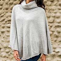 Alpaca blend poncho, 'Grey Glow' - Grey Alpaca Blend Turtle Neck Poncho from Peru