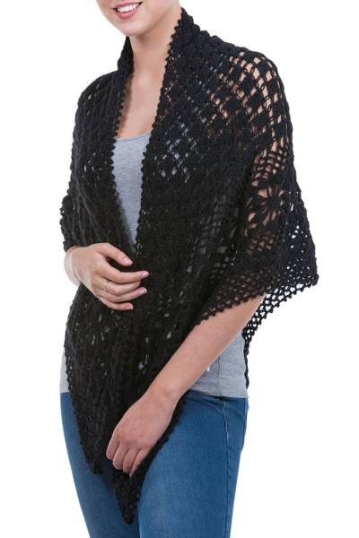 100% alpaca shawl, 'Versatile Black' - Hand Knitted Warm Black 100% Alpaca Patterned Shawl