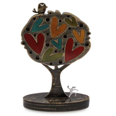 Wood and aluminum sculpture, 'Tree of Love' - Colorful Peruvian Tree Sculpture with Hearts and Bird