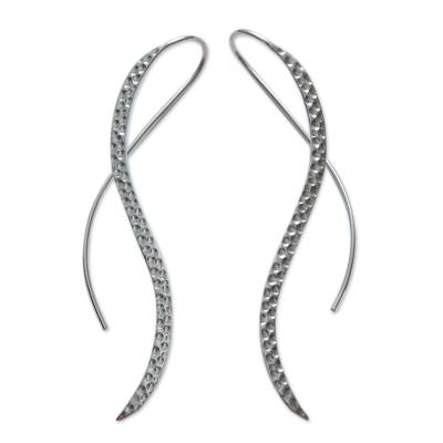 Sterling silver drop earrings, 'Flowing Stream' - Minimalist Design Sterling Silver Earrings Crafted by Hand