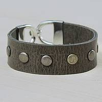 Leather wristband bracelet, 'Be Strong' - Olive Leather Wristband Bracelet with Weathered Studs