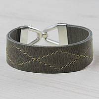 Leather wristband bracelet, 'Be Stylish' - Women's Olive Leather Wristband Bracelet with Silver Clasp