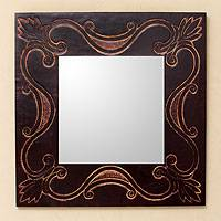 Leather mirror, 'Lotus Tendrils' - Handcrafted Contemporary Wall Mirror with Tooled Leather