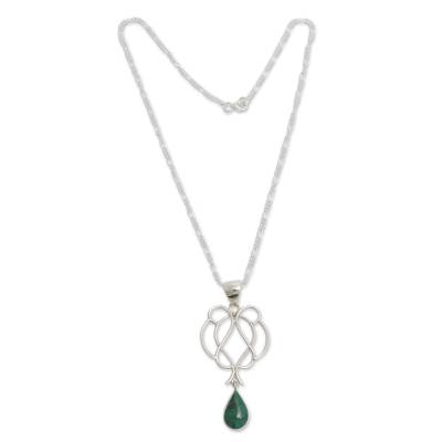 Chrysocolla and sterling silver pendant necklace, 'Drop of Wisdom' - Chrysocolla Droplet on Sterling Silver Hand Crafted Necklace