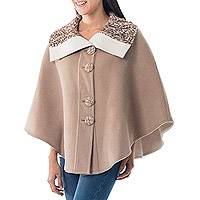 Reversible 100% alpaca ruana cape, 'Discretion' - Andean Reversible 100% Alpaca Cape in Beige and Ivory
