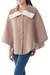 Reversible 100% alpaca ruana cape, 'Discretion' - Andean Reversible 100% Alpaca Cape in Beige and Ivory thumbail