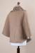 Reversible 100% alpaca ruana cape, 'Discretion' - Andean Reversible 100% Alpaca Cape in Beige and Ivory (image 2f) thumbail