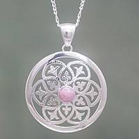 Rhodonite and sterling silver pendant necklace, 'Sentiment' - Handcrafted Rhodonite on Sterling Silver Necklace