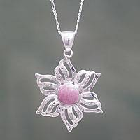 Rhodonite and sterling silver pendant necklace, 'Amaryllis' - Hand Crafted Rhodonite Flower Pendant Necklace from Peru