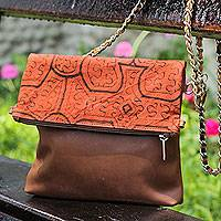 Leather and cotton shoulder bag, 'Shipibo Heritage' - Brown Leather Shoulder Bag with Hand Painted Cotton Flap