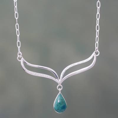 Chrysocolla and sterling silver pendant necklace, 'Forest Dew' - Artisan Crafted Sterling Silver and Chrysocolla Necklace