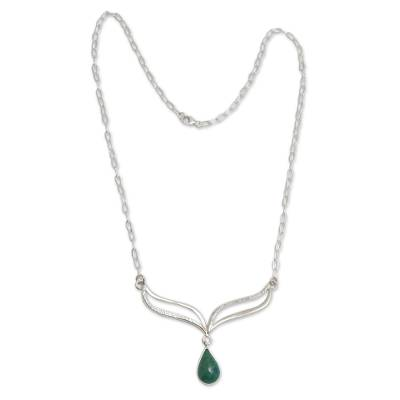 Artisan Crafted Sterling Silver and Chrysocolla Necklace