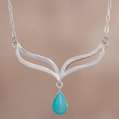 Amazonite and sterling silver pendant necklace, 'Turquoise Dew' - Amazonite Droplet on Hand Crafted Sterling Silver Necklace