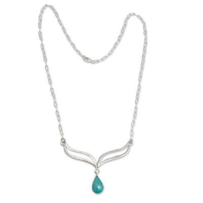 Amazonite Droplet on Hand Crafted Sterling Silver Necklace