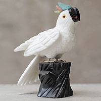 Onyx sculpture, 'White Cockatoo' - Artisan Crafted White Onyx Gemstone Bird Sculpture