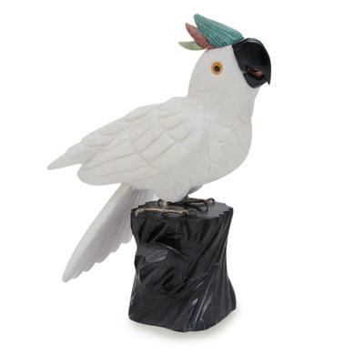 Artisan Crafted White Onyx Gemstone Bird Sculpture