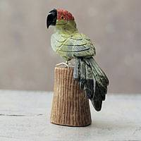 Serpentine and aragonite sculpture, 'Amazon Parrot' - Andean Green Parrot Hand Carved Gemstone Bird Sculpture