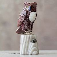 Garnet and onyx sculpture, 'Red Owl' - Peruvian Hand Crafted Gemstone Garnet Bird Sculpture