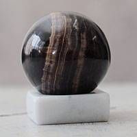 Calcite sphere, 'Earth Mystique' - Handcrafted Andean Brown Calcite Sculpture with Onyx Stand