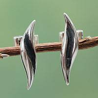 Sterling silver button earrings, 'Dancing Leaf' - Handcrafted Sterling Silver Button Earrings from Peru