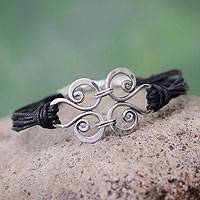 Silver and cotton wristband bracelet, 'Love Symphony' - Silver Pendant on Black Cotton Artisan Crafted Bracelet