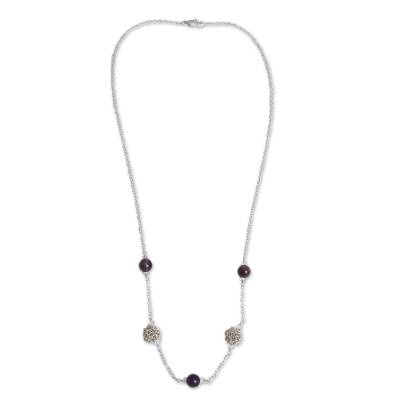 Artisan Crafted Silver Necklace with Amethyst and Aquamarine