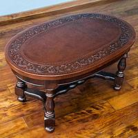 Mohena wood and leather accent table, 'Andean Vintage' - Tooled Leather on Peruvian Hardwood Oval Accent Table