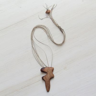 Novica Wood pendant necklace, Forest Trio