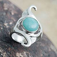Amazonite cocktail ring, 'Classic Curves'