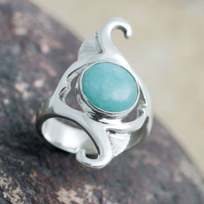 Amazonite cocktail ring, 'Classic Curves' - Sterling Silver and Amazonite Artisan Crafted Cocktail Ring