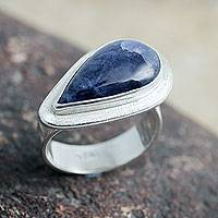 Sodalite cocktail ring, 'Gift of Life' - Hand Crafted Sterling Silver and Sodalite Cocktail Ring