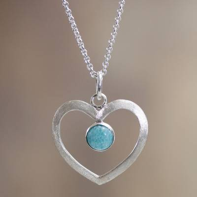 Amazonite heart necklace, 'Heavenly Love' - Peruvian Fair Trade Silver and Amazonite Heart Necklace