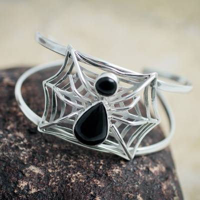 Obsidian cuff bracelet, 'Busy Spider' - Handcrafted Andean Silver and Obsidian Spider Bracelet