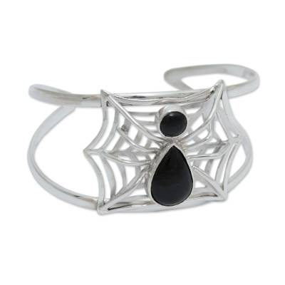 Handcrafted Andean Silver and Obsidian Spider Bracelet